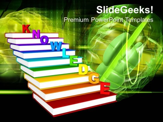 Knowledge On Books As Staircase PowerPoint Templates And PowerPoint Themes 0912