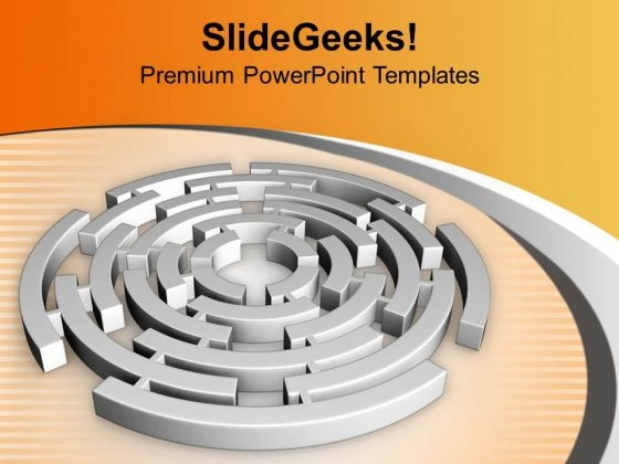 Labyrinth In Circular Manner Solution PowerPoint Templates Ppt Backgrounds For Slides 0413