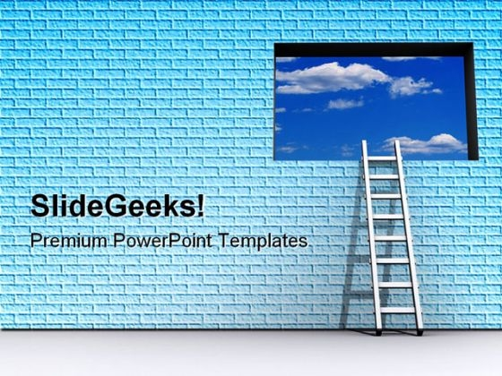 Ladder And Sky Success PowerPoint Templates And PowerPoint Backgrounds 0711