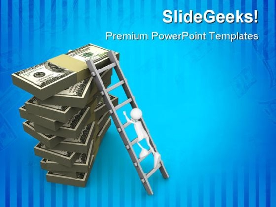 Ladder On Money Finance PowerPoint Themes And PowerPoint Slides 0211