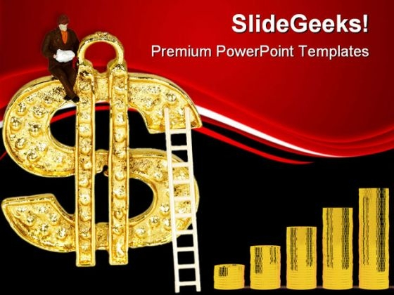 Ladder To Dollar Finance PowerPoint Templates And PowerPoint Backgrounds 0711