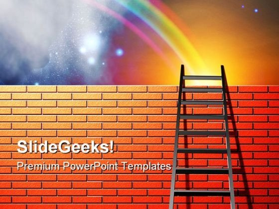 Ladder To Sky01 Success PowerPoint Templates And PowerPoint Backgrounds 0711