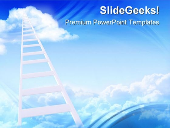 Ladder To Sky Success PowerPoint Themes And PowerPoint Slides 0711
