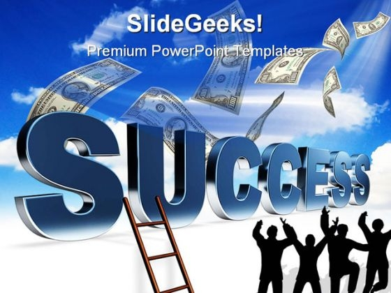 Ladder To Success Business PowerPoint Themes And PowerPoint Slides 0411