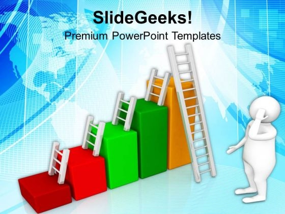 Ladders And Bar Graph PowerPoint Templates Ppt Backgrounds For Slides 0713