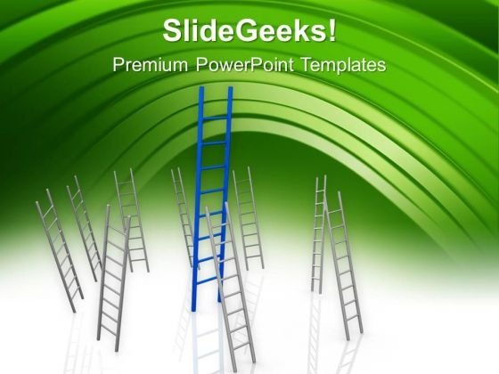 Ladders Shows Growth And Leadership Concept PowerPoint Templates Ppt Backgrounds For Slides 0213