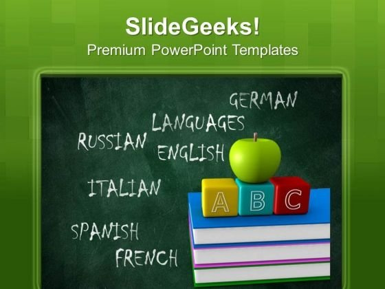 Languages Board And Apple Education PowerPoint Templates And PowerPoint Themes 1012