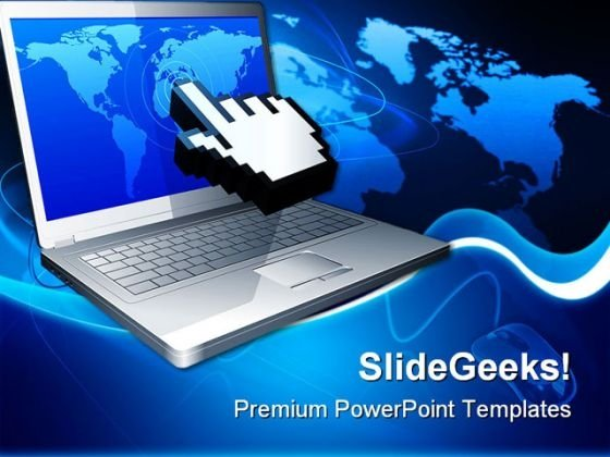 Laptop And Cursor Internet PowerPoint Backgrounds And Templates 1210