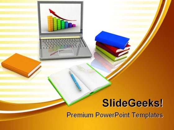Laptop And Growth Business PowerPoint Themes And PowerPoint Slides 0711