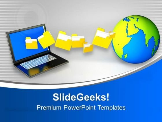 Laptop Uploading Downloading Files To Internet PowerPoint Templates Ppt Backgrounds For Slides 0213
