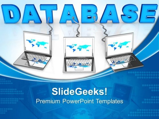 Laptop Wired To Database Internet PowerPoint Templates And PowerPoint Themes 0612