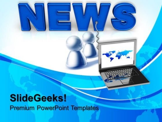Laptop Wired To News Internet PowerPoint Templates And PowerPoint Themes 0712