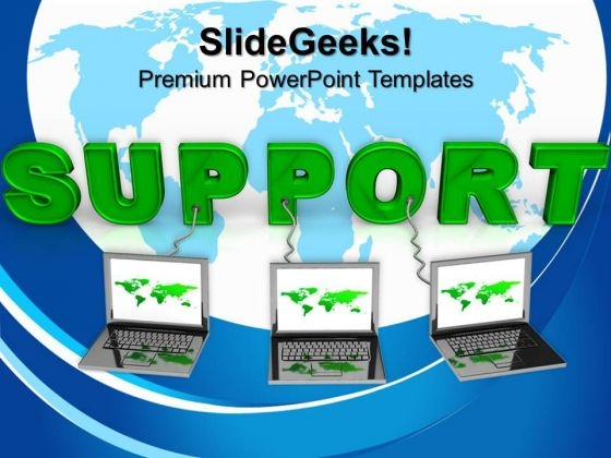 Laptop Wired To Support Teamwork PowerPoint Templates And PowerPoint Themes 0712