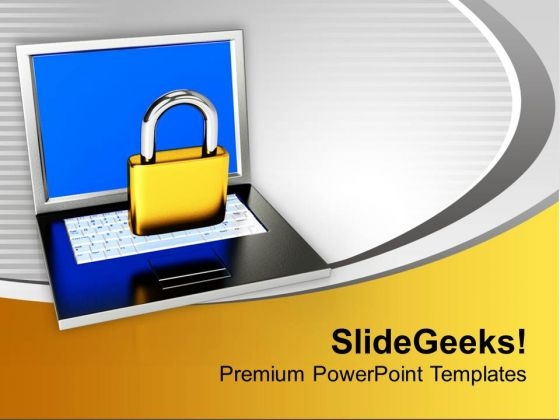 Laptop With Lock Folder Security PowerPoint Templates Ppt Backgrounds For Slides 0113