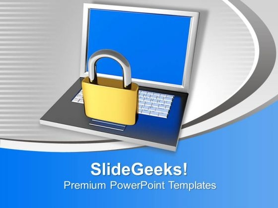 Laptop With Lock Internet Security PowerPoint Templates Ppt Backgrounds For Slides 1112