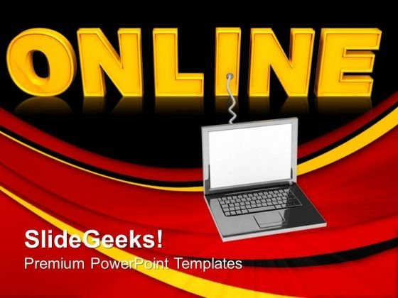 Laptop With Word Online Internet PowerPoint Templates And PowerPoint Themes 0712
