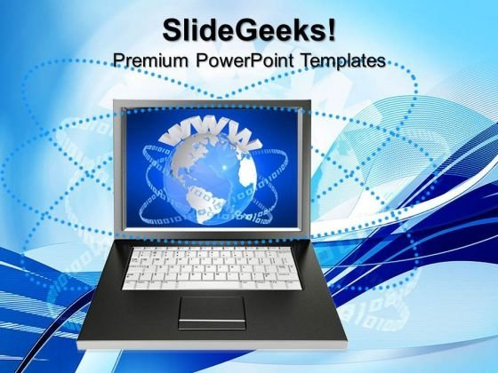 Laptop With Www Business PowerPoint Templates And PowerPoint Themes 0612