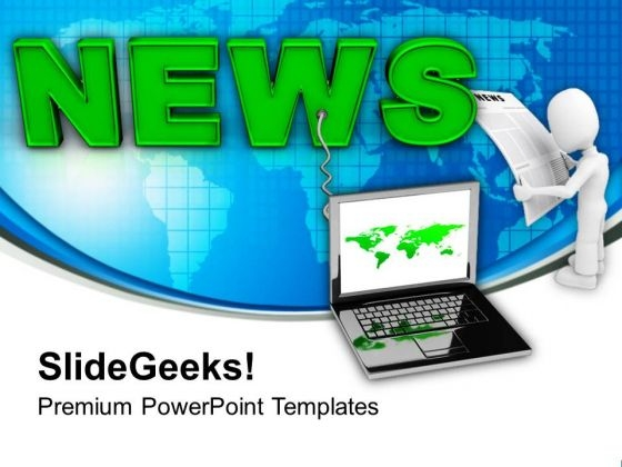 Latest News On Laptop Communication PowerPoint Templates Ppt Backgrounds For Slides 0213