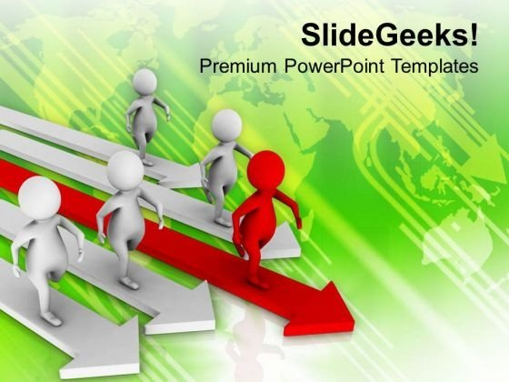 Leader Competing With Team Leadership PowerPoint Templates Ppt Backgrounds For Slides 0513
