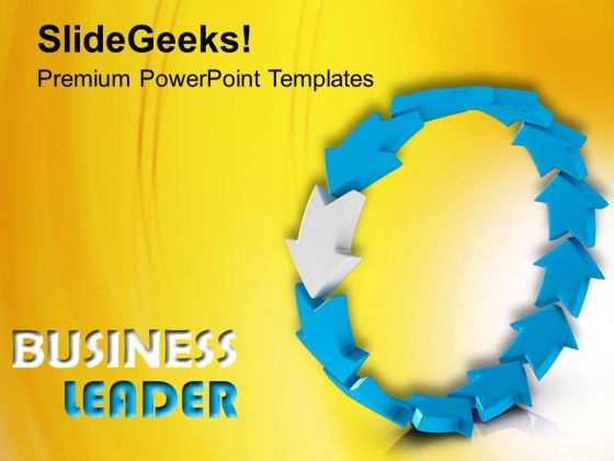 Leader Leading Team As Curved Arrows PowerPoint Templates Ppt Backgrounds For Slides 0313