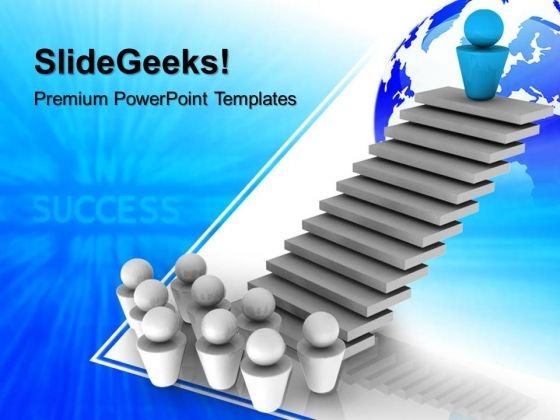 Leader On Top Success Global PowerPoint Templates And PowerPoint Themes 0612