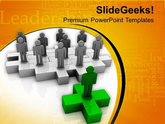 Leader With His Team PowerPoint Templates Ppt Backgrounds For Slides 0813