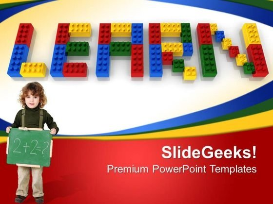 Learn With Lego Blocks Education PowerPoint Templates And PowerPoint Themes 0612