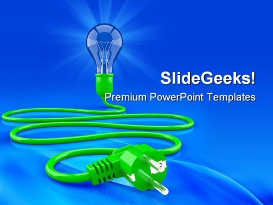 Light Bulb Cable And Electrop Symbol PowerPoint Themes And PowerPoint Slides 0411