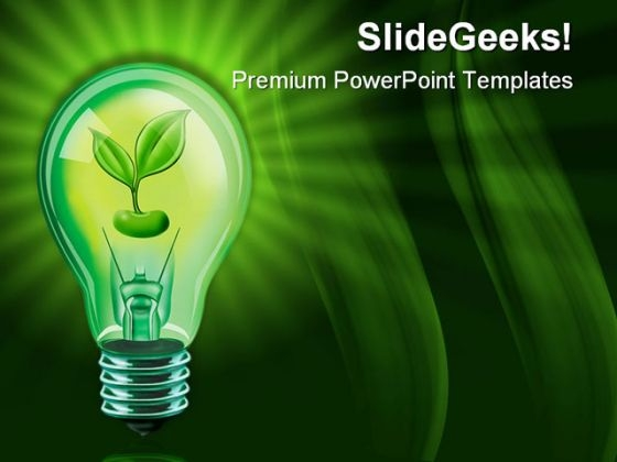 Electricity powerpoint templates slides and graphics light bulb with plant nature powerpoint templates and powerpoint backgrounds 0411 toneelgroepblik Images