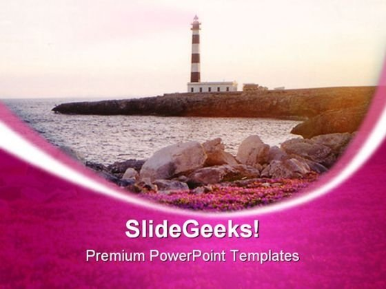 Light House In Menorca Beach PowerPoint Templates And PowerPoint Backgrounds 0311