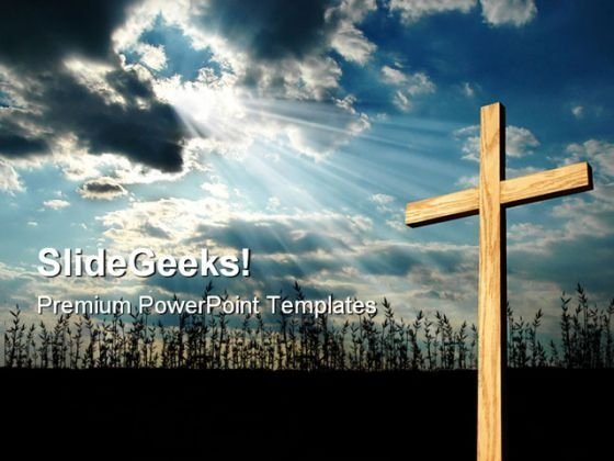 Light Shining On Cross Religion PowerPoint Templates And PowerPoint Backgrounds 0711