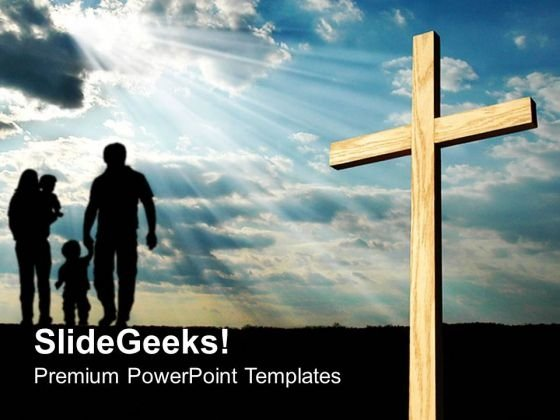 Light Shining On Cross Religion PowerPoint Templates And PowerPoint Themes 0712
