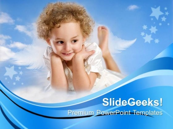 Little Curly Hair Fairy Children PowerPoint Templates And PowerPoint Themes 0712