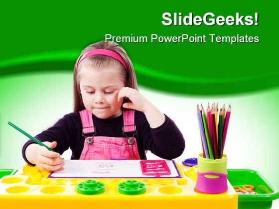 Little Girl Drawing Education PowerPoint Template 1110