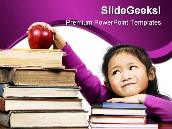 Little Girl With Books Education PowerPoint Template 0810