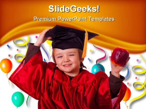 Little Graduate Education PowerPoint Backgrounds And Templates 1210