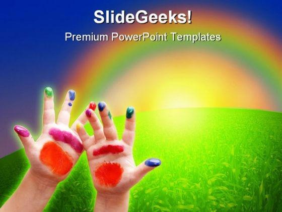 Little Hands Nature PowerPoint Template 0610
