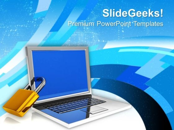 locked laptop computer security concept powerpoint templates ppt, Powerpoint templates