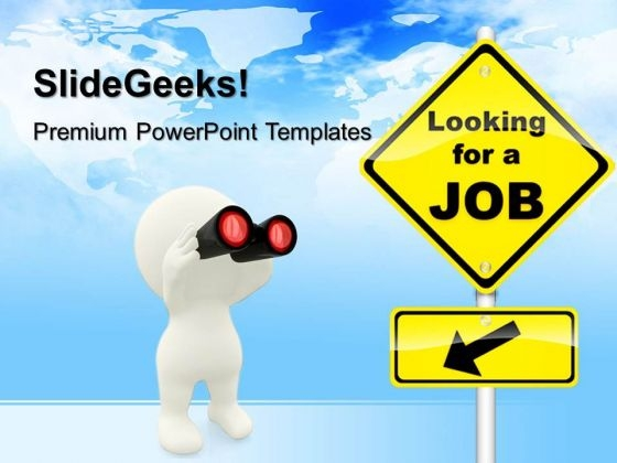 Looking For Job Signpost Metaphor PowerPoint Templates And PowerPoint Themes 0412