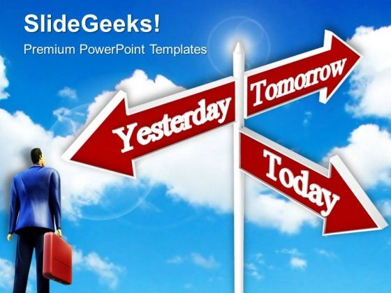 Looking Towards Future Signpost Metaphor PowerPoint Templates And PowerPoint Themes 0612