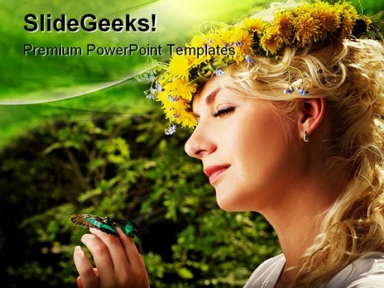 Lovely Woman With A Butterfly Beauty PowerPoint Themes And PowerPoint Slides 0511