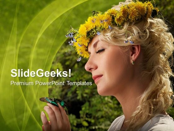 Lovely Woman With Butterfly Nature PowerPoint Templates And PowerPoint Themes 0712