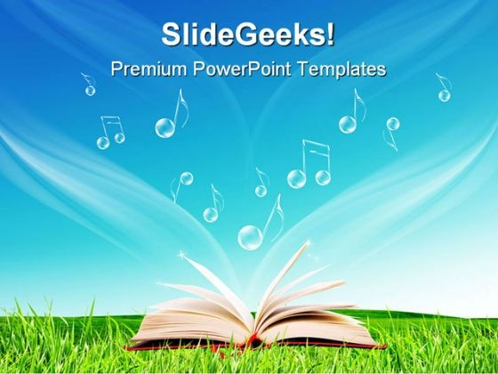 Magic Book Music Notes Nature PowerPoint Themes And PowerPoint Slides 0411