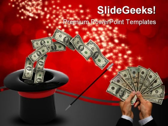 Magic Wand Money PowerPoint Template 0610