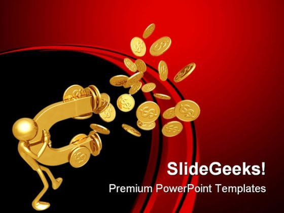 Magnet Attracting Coins Finance PowerPoint Themes And PowerPoint Slides 0811