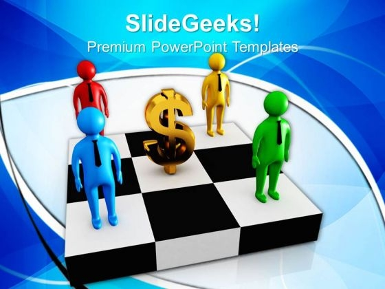 Dollar Sign And 3d Small People On A Chessboar Powerpoint Templates