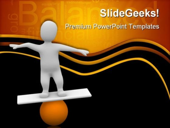 Man Balancing On Orange Ball Business PowerPoint Templates And PowerPoint Backgrounds 0311