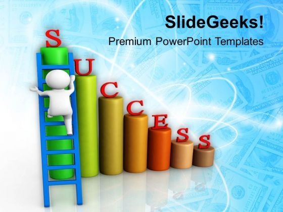 Man Climbing On Success Bar Graph PowerPoint Templates Ppt Backgrounds For Slides 0713