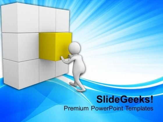 Man Complete The Business Task Arranging Cubes PowerPoint Templates Ppt Backgrounds For Slides 0813