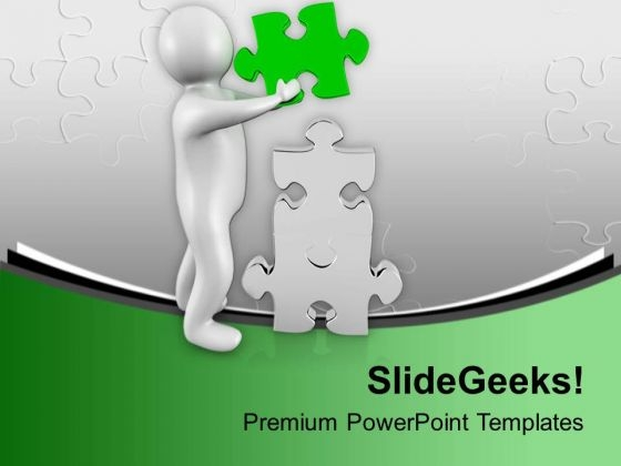 Man Fixing Puzzle Piece PowerPoint Templates Ppt Backgrounds For Slides 0713